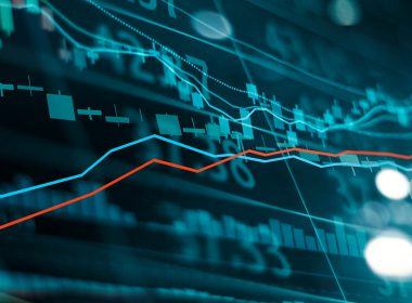 Financial stock market investment trading graph. Candle stick graph chart. Currency exchange rates. Bullish point, Bearish point. trend on technology abstract background